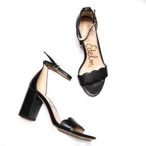 SAM EDELMAN Odila Scalloped Block Heel Sandals Leather Black Size 7M Open Toe